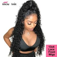 Ishow Lace Front Human Hair Wigs Curly Human Hair Wig Brazilian Lace Front Wig 250 Density Lace Wig Remy Black Kinky Curly Wig