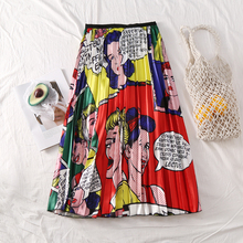 New Summer Woman High Waist Cute Cartoon Print Long Pleated A Line Skirt Letter Elastic Harajuku Mid-calf Maxi