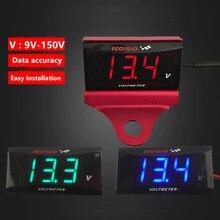 Koso dc 9v-150v voltímetro mini medidor de tensão para motocicletas elétricas bateria carros compteur para xmax 300 pcx150 nmax 125 250 155