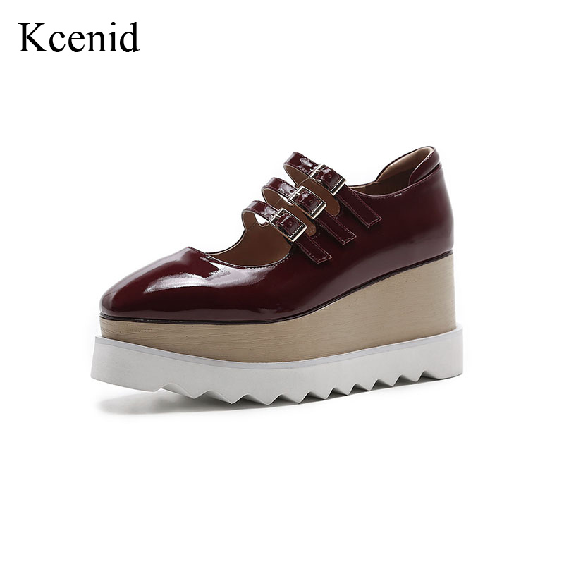 Kcenid Genuine leather flat platform shoes woman square toe buckle strap sneakers fashion hollow casual shoes large size 33-42 цена 2017