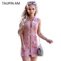 TAUPIN AM Velvet Lace Up Pink Dress Autumn Winter Brand Short Party Dress Sexy V Neck
