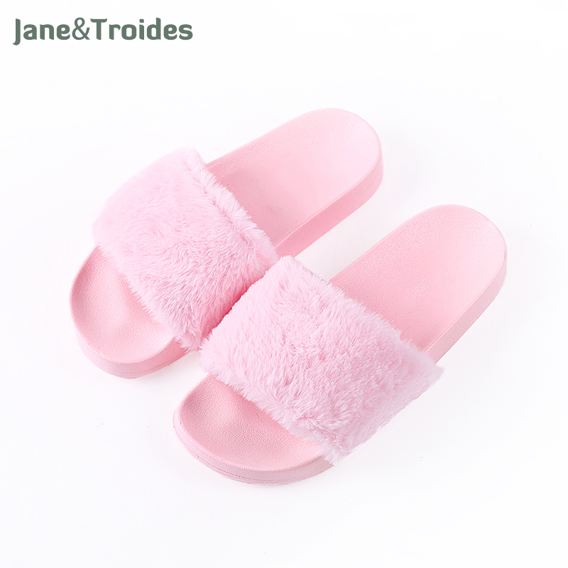 Spring Autumn Fluffy Women Slippers Open Toe Thicken Antiskid Solid Color Flip Flops Plush Fashion Indoor