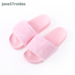 Spring autumn fluffy women slippers open toe thicken antiskid solid color flip flops plush fashion indoor.jpg 250x250