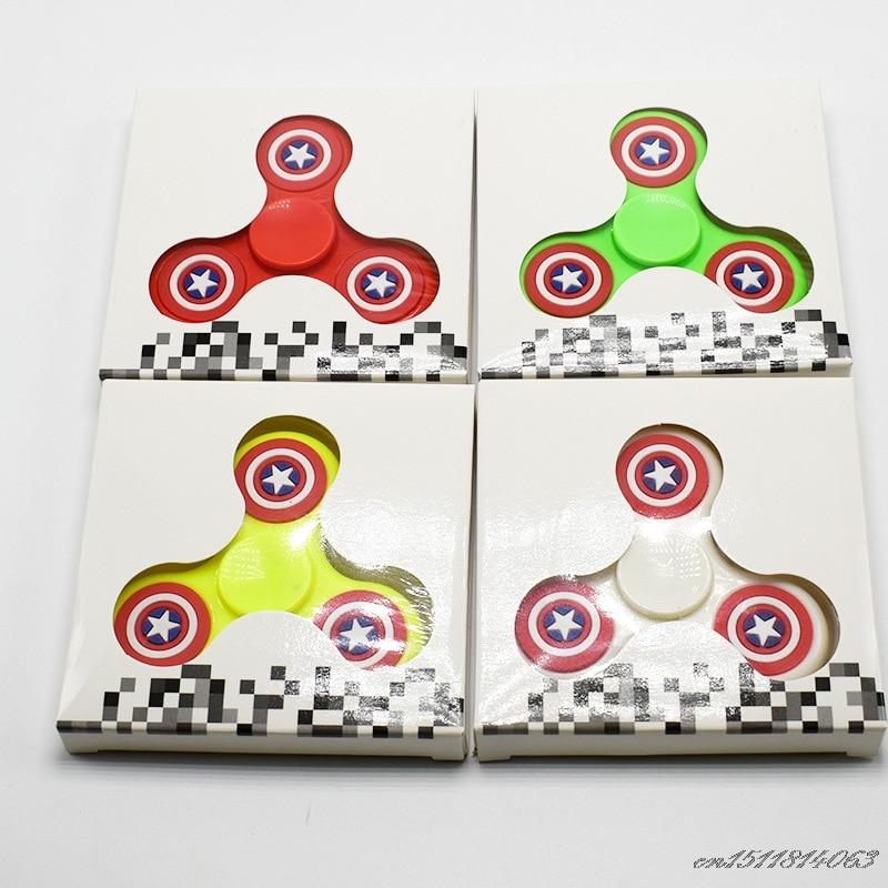2017 New Cartoon EDC Fidget Spinner Hand toys PVC Captain America Finger Spinner Fidget Relieve Stress Focus Puzzle Toys
