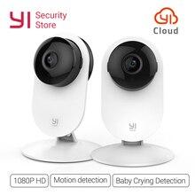 Yi home câmera 1080p sem fio ip, para visão noturna, 2 peças, sistema de vigilância, wi fi, cctv yi coruja da câmera em nuvem