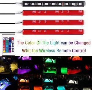 Image 5 - 4 pcs/et 7 צבע LED רכב פנים תאורה ערכת רכב סטיילינג פנים קישוט אווירת אור ואלחוטי מרחוק שליטה