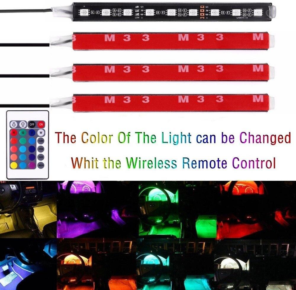 4 stkset 7 kleur led auto interieur verlichting kit auto interieur sfeer licht en draadloze afstandsbediening