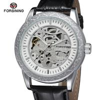 FSG8086M3S3 Forsining Latest Men Automatic Skeleton Dress Silver Color Watches With Analog Display Round Watch Free