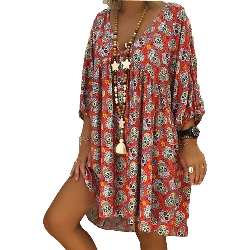New Sell Well Fashion Women Summer Dress <font><b>Sexy</b></font> V-neck Skull Printed Loose dresses plus size Beach Casual Dress <font><b>5XL</b></font> Vestidos <font><b>Mujer</b></font> image