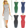 2015Summer New Aliexpress Ladies Fashion Striped  Sleeveless Dress  Pencil Women Work Wear Dresses  Red Blue Black Green