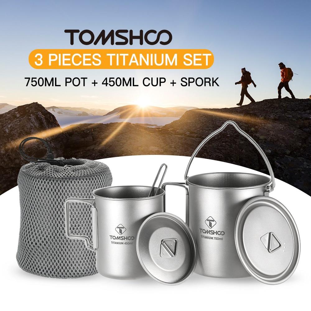 TOMSHOO 3 Cup Set Titanium 750ml Pot 450ml Water Cup Mug Lid Collapsible Handle Folding Spork