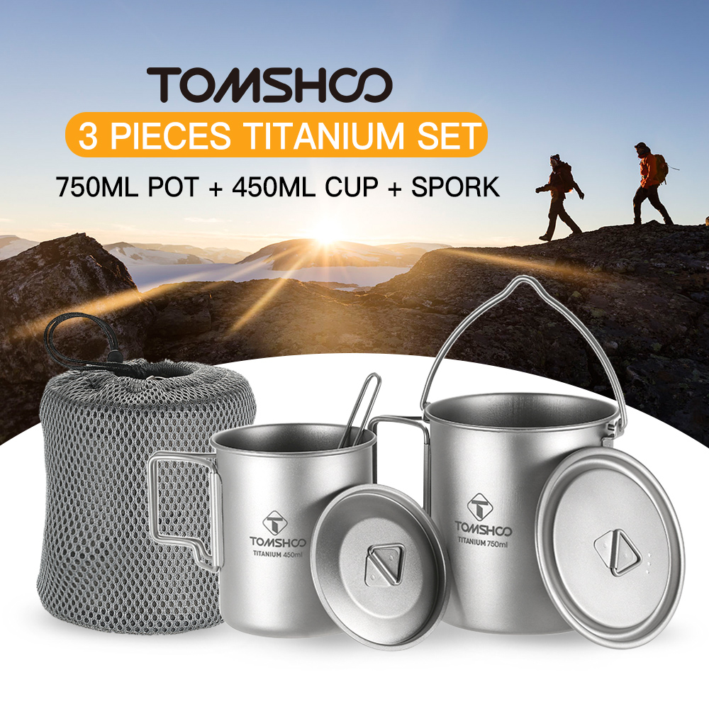 TOMSHOO 3 Cup Set Titanium 750ml Pot 450ml Water Cup Mug Lid Collapsible Handle Folding Spork Lightweight Camping Hiking Cups