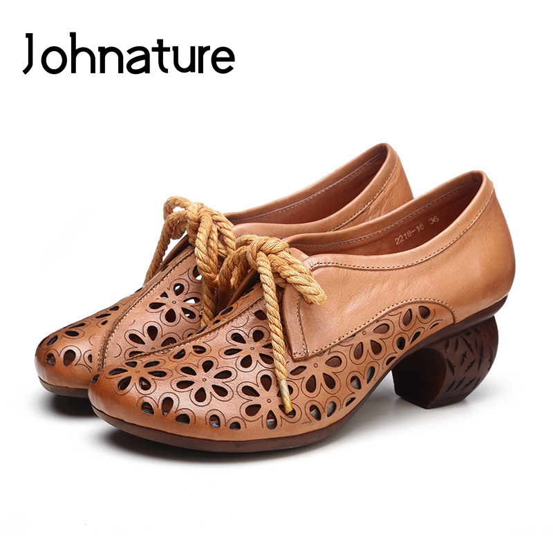 Johnature 2019 New Spring Autumn Genuine Leather Round Toe Casual Lace up Hollow Retro T tied