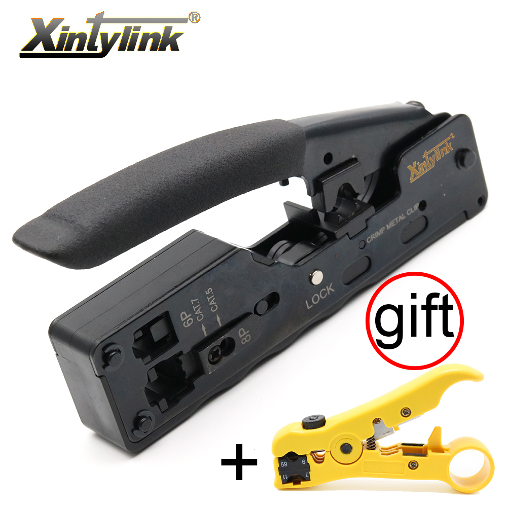xintylink RJ45 crimper for cat7 cat6a plug network tools Crimping Cable Stripper clamp 8p8c pliers Multifunctional