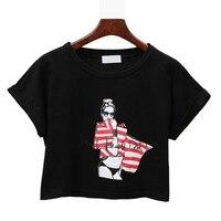 2017 Summer New Harajuku Women T Shirt Letters Print Korean Style Cotton Loose Crop Tops Kawaii