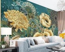 Купить с кэшбэком Beibehang Custom wallpaper hand-painted vintage floral European TV background wall living room bedroom background 3d wallpaper