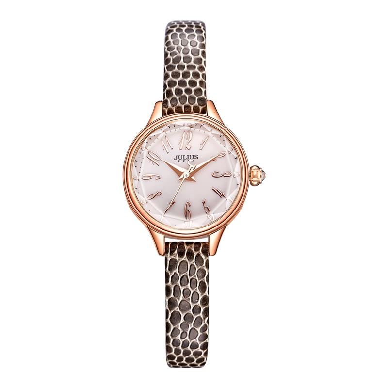 JULIUS 2018 Winter New Crocodile Genuine Leather Strap Rose Gold Watches Women Lady Fashion Dress Wrist