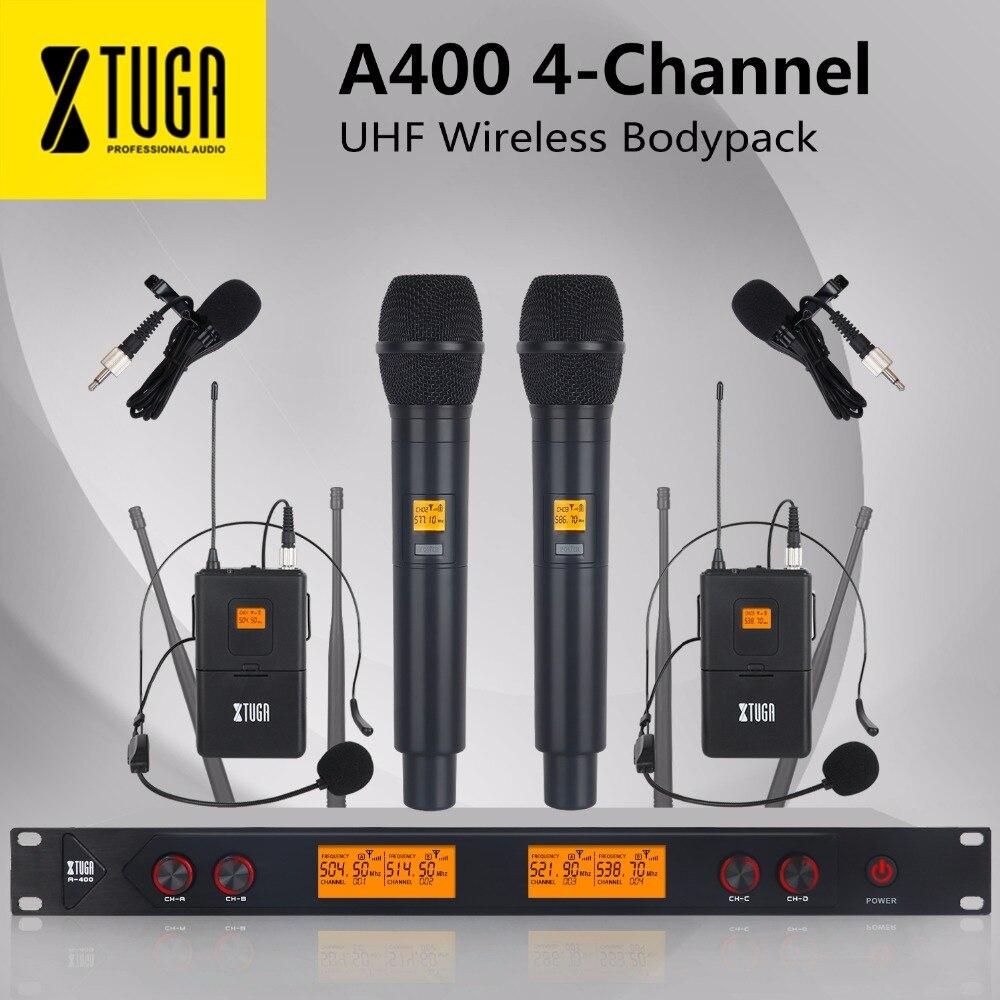 XTUGA A-400 métal matériel 4 canaux UHF système de Microphone sans fil avec 2 BodyPack et 2 Handheldfor scène église fête de famille