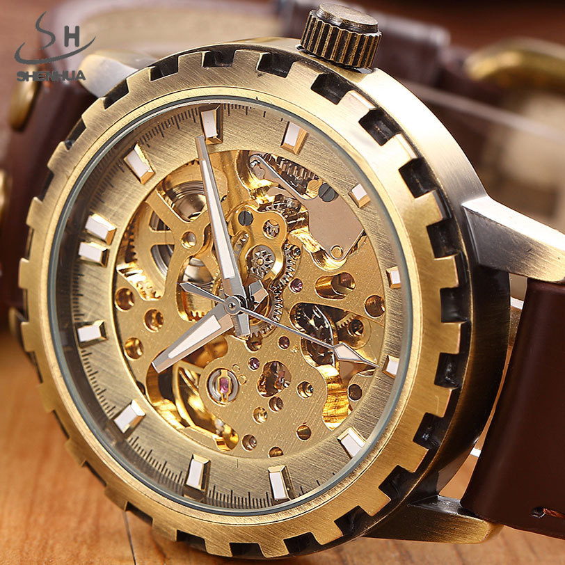 SHENHUA Luxury Top Brand Skeleton Mechanical Watch Bronze Gear Case Leather Male Clock Casual Gold Fashion Men Automatic Watch shenhua luxury gold flywheel automatic mechanical skeleton watch men male waterproof clock hollow transparent watch wrist watch