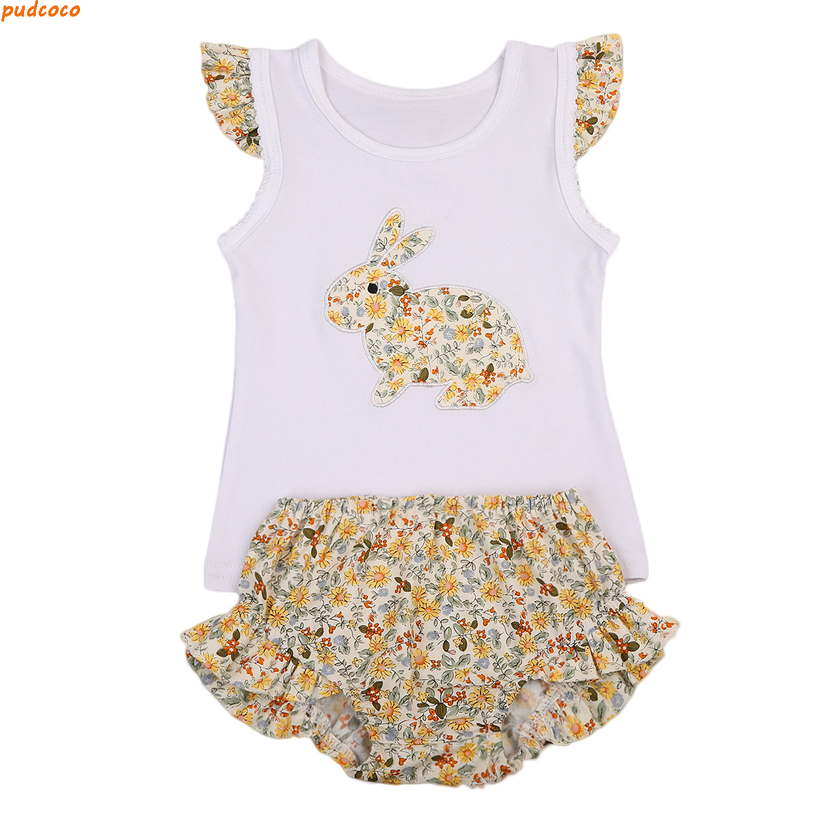 Pretty Toddler Baby Girl Bunny Outfits Clothes Casual Vest Tops Floral Shorts