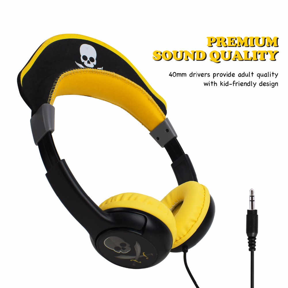 Oneodio Children Headphones Foldable Pirate Design Earphones For Boys Yellow 3.5mm Over-Ear Gaming Headset For Christmas Gift