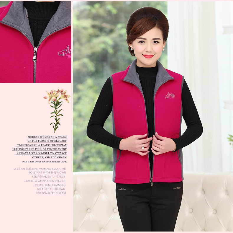 Woman Basic Fleece Vest Purple Red Color Blocking Sleeveless Jackets Middel Aged Women Warm Soft Fleeve Waistvest Zipper Herringbone Gilet (17)