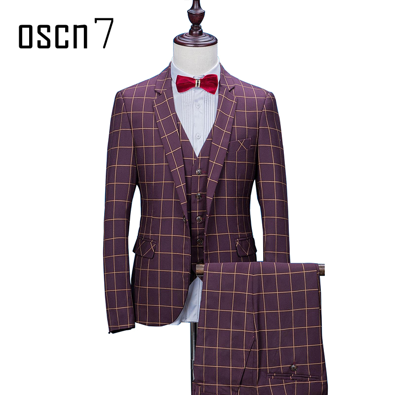 OSCN7 vino rojo a cuadros 3 unids hombres traje 2017 Oficina boda ...