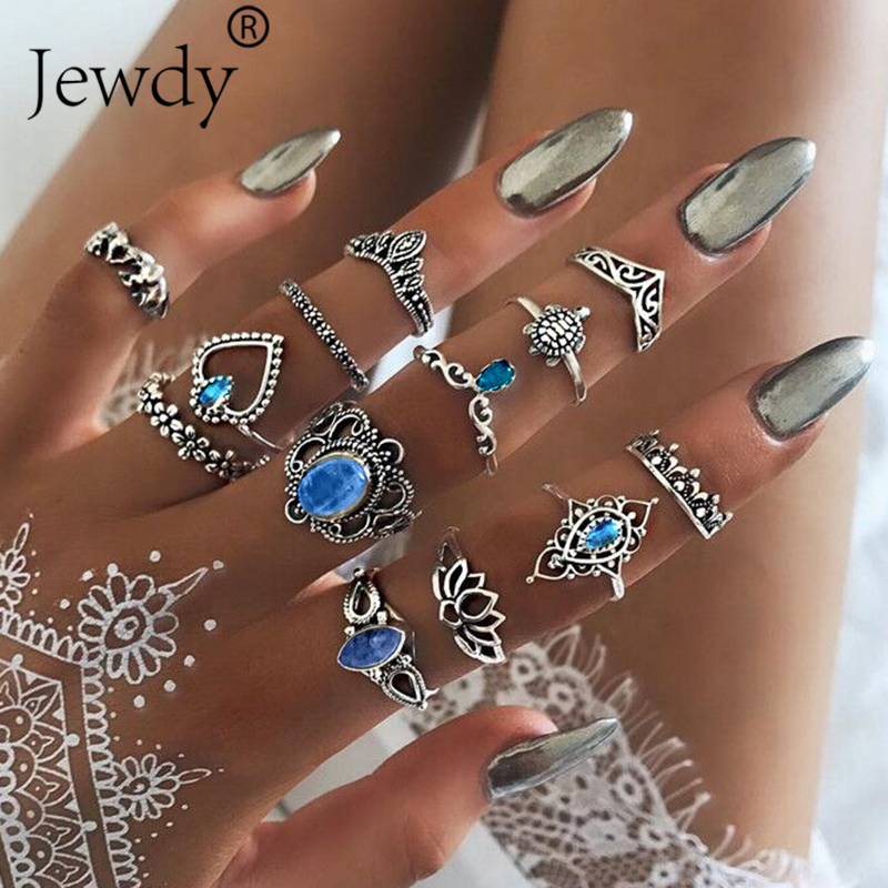 13 PCS/SET Vintage Elephant Turtle Crystal Crown Rings Set for Women Lotus Heart Midi Knuckle Rings Party Jewelry Gifts New
