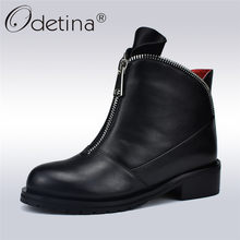 801b98b2e Odetina Fashion High Quality Women Comfortable Chunky Heels Front Zipper Ankle  Boots Round Toe Shoes Autumn Winter Plus Size 42