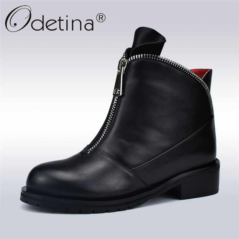 Odetina Fashion High Quality Women Comfortable Chunky Heels Front Zipper  Ankle Boots Round Toe Shoes Autumn dba7e40c18cd