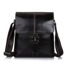 New Men's Luxury Brand Business Messenger Bag Genuine Cowhide Leather Shoulder Bag Male Small Briefcase with Zipper iPad Holder