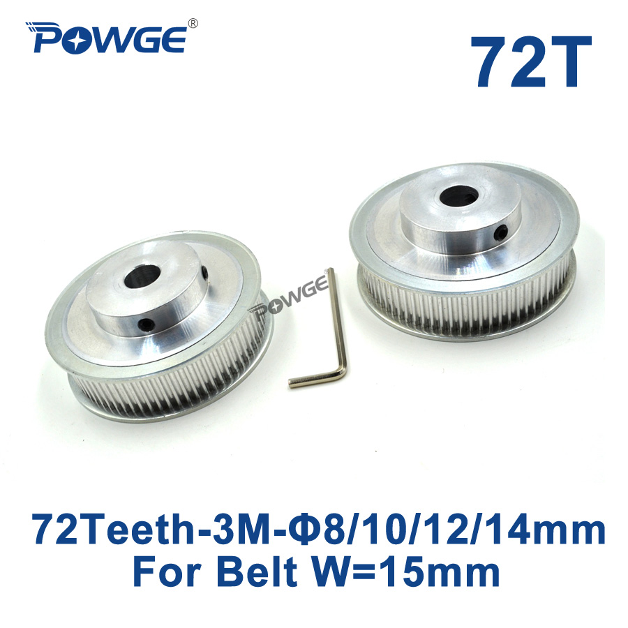 POWGE 2pcs 72 Teeth HTD 3M Synchronous Pulley Bore 8mm 10mm 12mm 14mm for Width 15mm 3M Timing belt HTD3M pulley 72Teeth 72T CNC powge 1pcs steel 18 teeth htd 3m timing pulley bore 8mm for width12mm 3m timing belt rubber htd3m pulley belt tooth 18t 18teeth