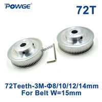 1pcs 72 Teeth HTD 3M Timing Pulley Bore 12mm For Width 15mm HTD3M Open Timing Belt