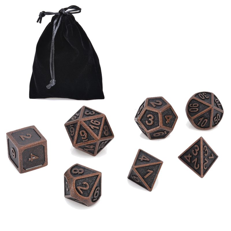 7Pcs Copper Color Retro Metal Polyhedral Dice Dungeons & Dragons Mtg Set Table Board Games Outdoor Bar Family Party With Bag