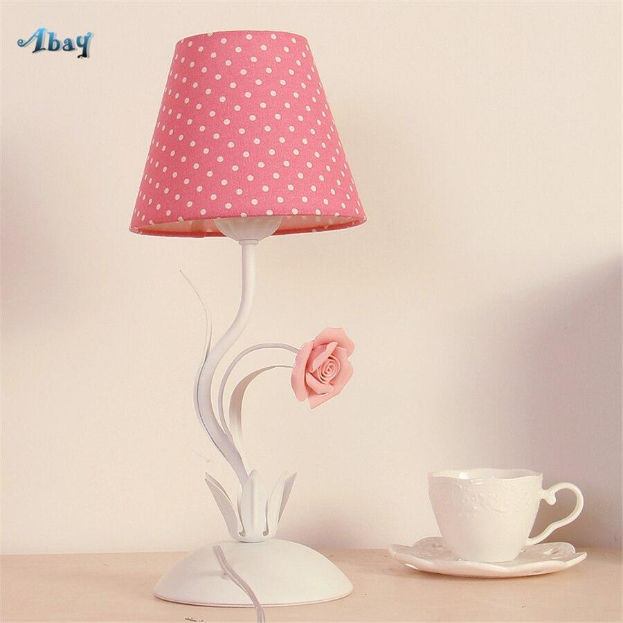 Romantique tissu fleurs lampe de Table pour salon enfants chambre étude Decoracion Habitacion Infantil enfants Table de chevet lampe