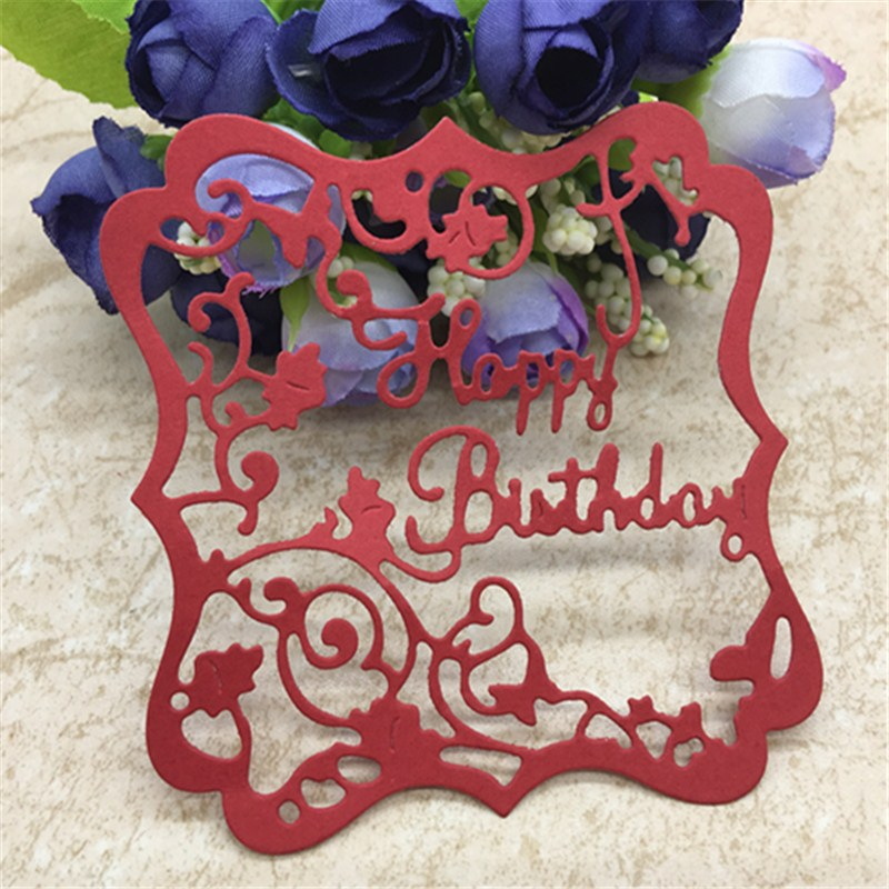 Happy Birthday Flower Frame Metal Cutting Dies Scrapbook Card Invitation Paper Craft Party Decor Embossing Stencil Cutter