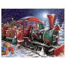 5D DIY Diamond Painting Christmas Square Rhinestone Mosaic Santa Claus Train Gift Embroidery