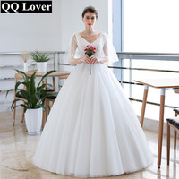 QQ Lover 2018 Flowers Beading Ball Gown Wedding Dress Plus Size Wedding Gown Bridal Gown