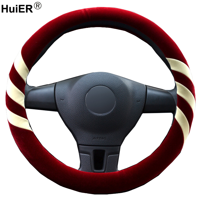 Winter 4 Colors Car Steering Wheel Covers Soft No Bad Smell Anti-slip For 37-38CM Braid on the Steering wheel Auto Car Protector 38 38cm