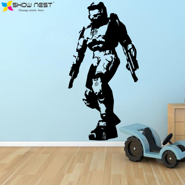 Gaming Halo Masterchief Wall Art Decal Mural Vinyl Sticker Bedroom Living Home Decor – Game Wallpaper – Kids Playroom Decor
