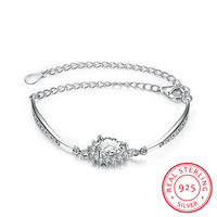 100 925 Sterling Silver Jewelry Big Snow Flower Hlaf Hard Hand Chain Link Bracelet Charm Bracelets