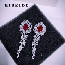 HIBRIDE Luxury Brilliant Red Withe Cubic Zircon Earrings For Women Wedding Bridal Drop Earring Brincos Bijoux Gifts E-529