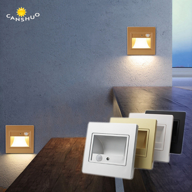 10pcs/lot PIR Motion Sensor Led Indoor Stair Light Infrared Human Body  Induction Lamp Recessed