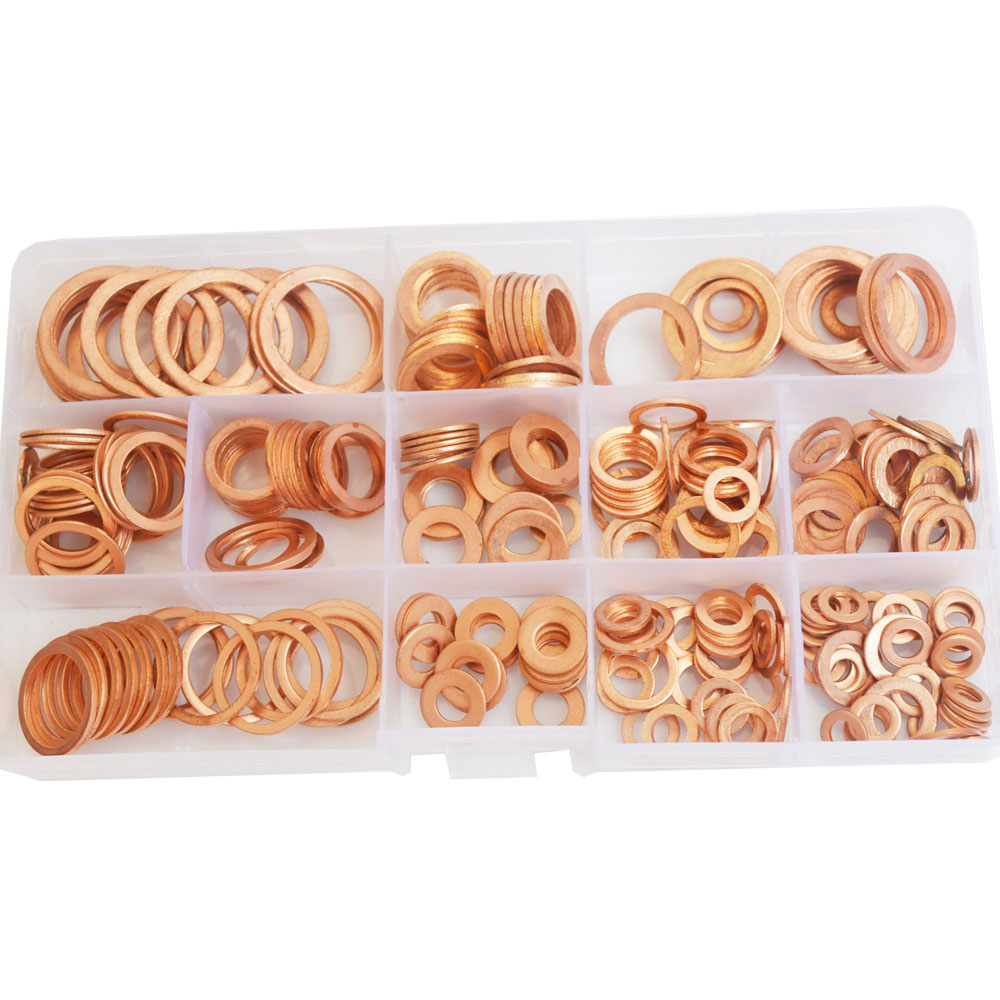 Copper Washer Gasket Set Plain Washer With Box Fitting For Screw Bolts Ring Seal Assortment Kit Set M5 M6 M8 M10 M12 M14 M16 M20