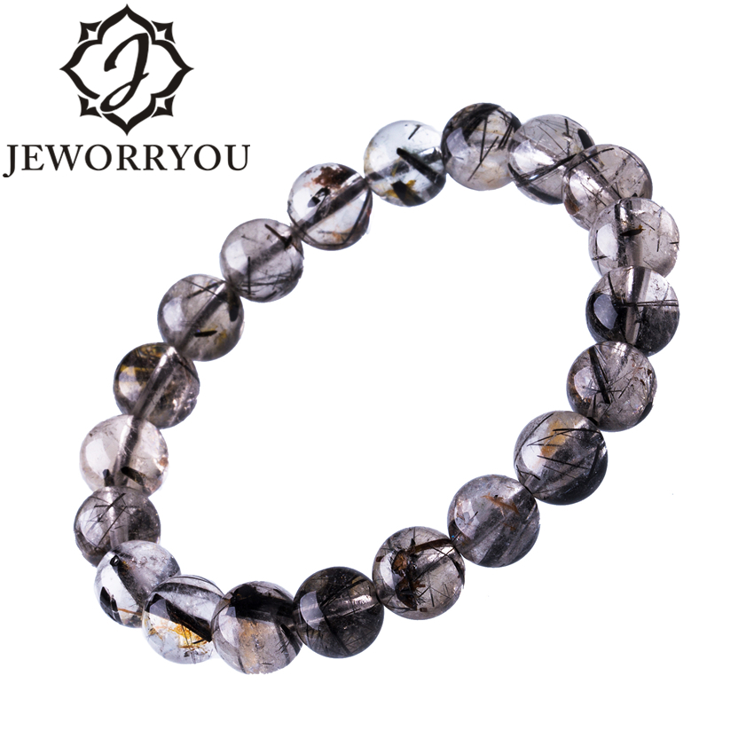 6-12mm Black Rutilated Quartz Mens Bracelets 2019 Natural Stone Women Bracelet Round Unisex Jewelry Bracelets