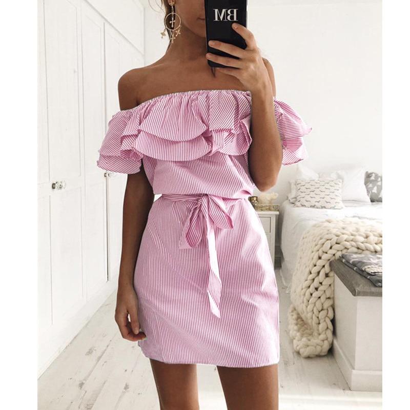 Off Shoulder Strapless Striped Ruffles Dress Women 2018 Summer Sundresses Beach Casual Shirt Short Mini Party Dresses Robe Femme 8
