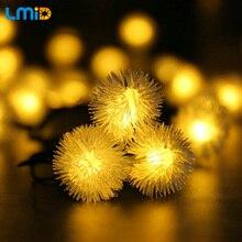 LMID Solar Lamps  Fairy Snowball Snowflake Garland String Light Waterproof Outdoor Decoration Christmas Garden Solar Lamp