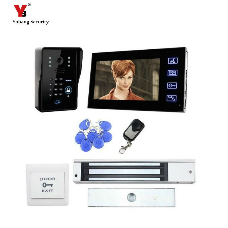 Yobang Security 7 Inch LCD Monitor video intercom door bell and video doorbell phone with 5 pcs RFID card unlock function 1v4 home security 7inch tft lcd monitor video door phone intercom doorbell night vision with rfid card password unlock camera