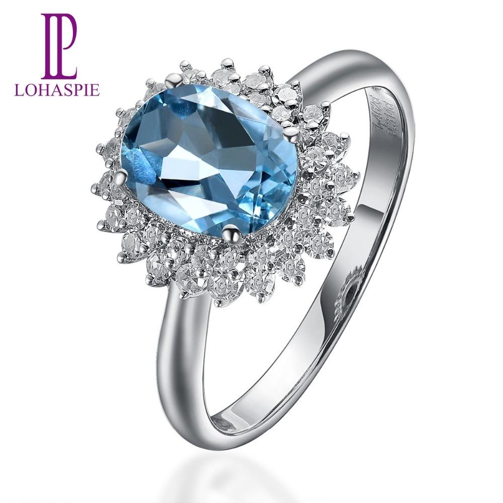 Lohaspie 1.15ct Natural Gemstone Aquamarine & Diamond Solid 18k White Gold Engagement Ring Diamond-Jewelry For Women Gift