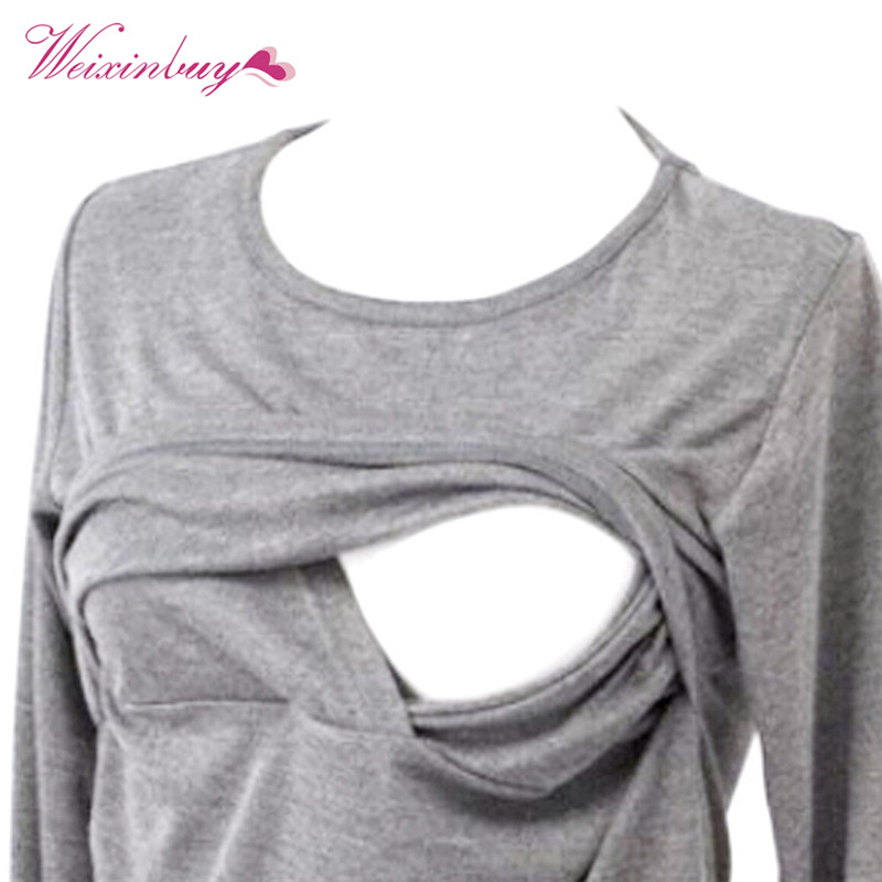 Fashion New Mummy Lounge Breastfeeding Cotton Nursing Long Sleeve Solid Tops Clothes for pregnant women
